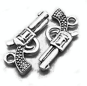 - Charming Beads ZX00110 - Paquet 15 x Argent Antique Tib/étain 22mm Breloques Pendentif Arme /À Feu