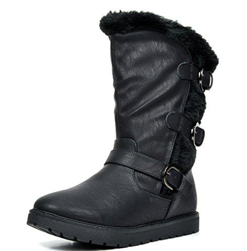 (DREAM PAIRS Big Kid Korel Black Pu Knee High Winter Snow Boots Size 4 M US Big)