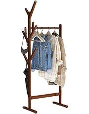 LANGRIA Portant Penderie à Vêtements en Bambou avec Porte-Manteau sur Le Côté Design Arbre avec 8 Crochets pour Vestes Robes Parapluie Chapeaux Pieds Réglables