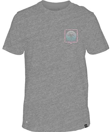 Hurley AR5443 Men's Dri-Fit Trippy Palms Short Sleeve Shirt, Dk Grey Heather - - Dri Fit Short Flash