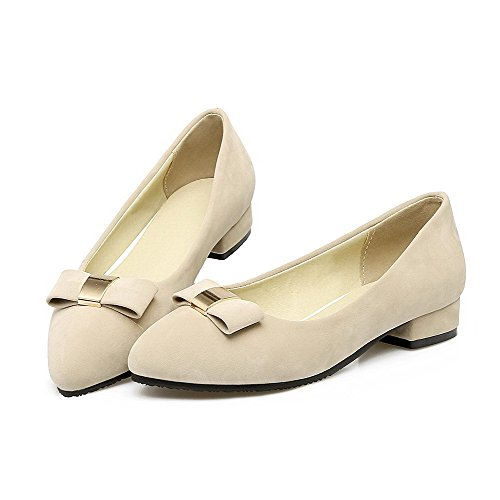 AmoonyFashion Womens Frosted Pull-On Closed-Toe Low-Heels Solid Pumps-Shoes Beige 0mT0j