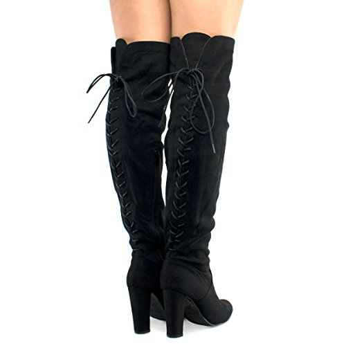 Premier Standard Women's Thigh High Stretch Boot - Trendy High Heel Shoe - Sexy Over The Knee Pullon Boot - Comfortable Heel