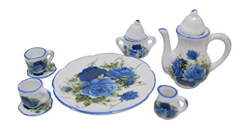 1:6 Scale 10 Piece Mini Dollhouse Size Blue Floral Tea Set with Teapot, Sugar, Creamer, Two Cups and Saucers, and Plate -