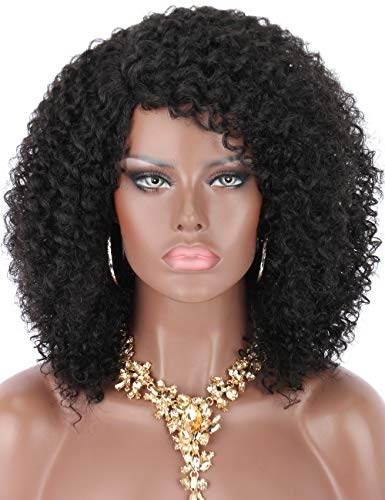 Kalyss Black Curly Synthetic Hair Wig Afro Kinky Curly Wigs for Black Women Curved L Part Natural Looking Hair Wigs for Womens Daily Wear Hairpiece