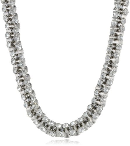 Kenneth Jay Lane Silver and Crystal Necklace, 19.5