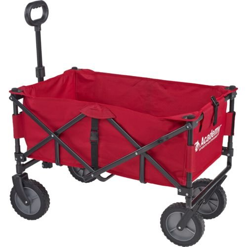 Academy Sports Outdoors Folding Sport Wagon with Removable Bed Rolls well on grass gravel and even mud (Red)