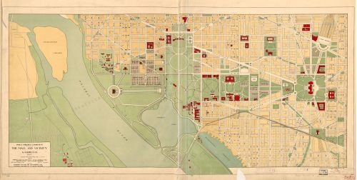 1927 to 1928 Map The Mall and vicinity, Washington : 1927 - Size: 12x24 - Ready to Frame - - Mall Store Map America Of