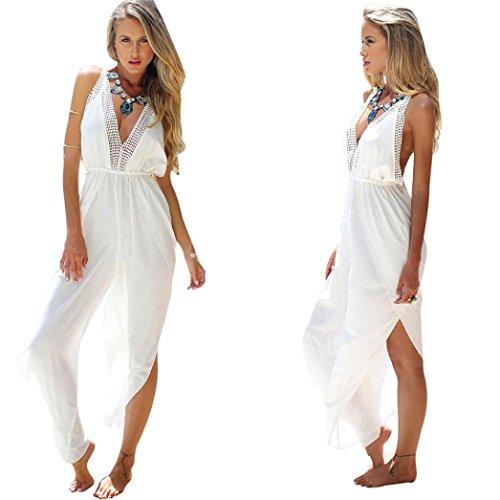 Mosunx(TM) Summer Women Sexy V-Neck Clubwear Jumpsuit Swimsuit Beach Romper Bodysuit (S, white)