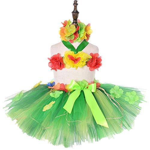 KEFAN Hula Skirts Set for Baby Girl Hawaiian Hula Party Dress Summer Beach Theme Party Costume (Green)]()