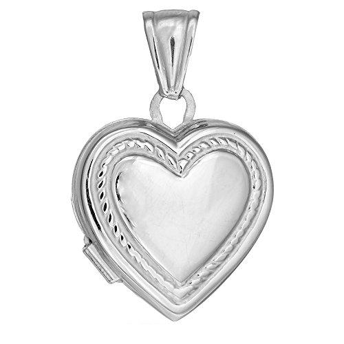 En argent sterling Pendentif Coeur Médaillon avec finition Rhodium brillant avec bordure en corde-20x 25mm