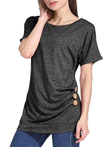 Ls Shirt Home Retro - LYXIOF Women's Short Sleeve Casual Loose Tunic Blouse Tshirt Tops with Side Buttons A-Dark Grey M