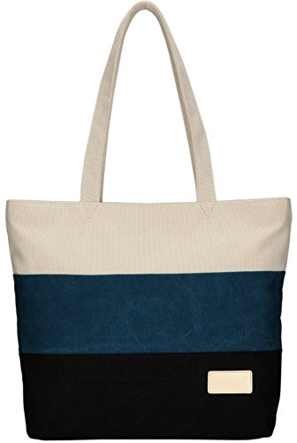 ArcEnCiel Women's Canvas Shoulder Hand Bag Tote Bag (Blue&Black) ()