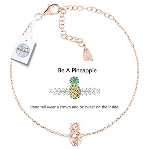 Vivid&Keith Womens Girls 925 Real Sterling Silver 18K Plated Swarovski Zirconia Cute Adjustable Gift Fashion Jewelry Link Chain Charm Pendant Bangle Bracelet, Be A Pineapple, Rose Gold ()