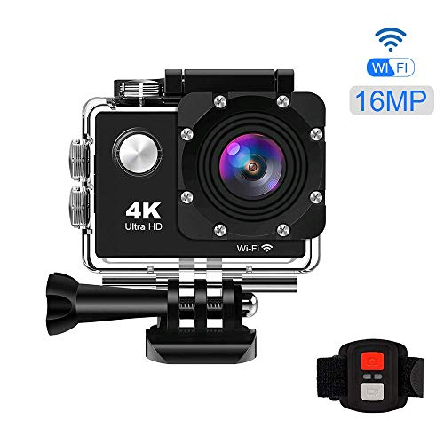 KppeX 4K WiFi Sports Action Camera, 16MP 170 Degree Ultra Wide Angle Lens, Ultra HD Waterproof DV Camcorder, Underwater Waterproof Camera with Remote Control.
