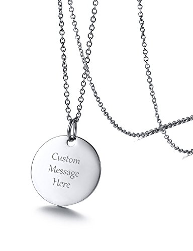 (VNOX Custom Engraved Stainless Steel Circle Round Tag Disc Pendant Necklace,Inspirational Bridesmaid Friendship Gift for Her (Sliver, 1 Piece))