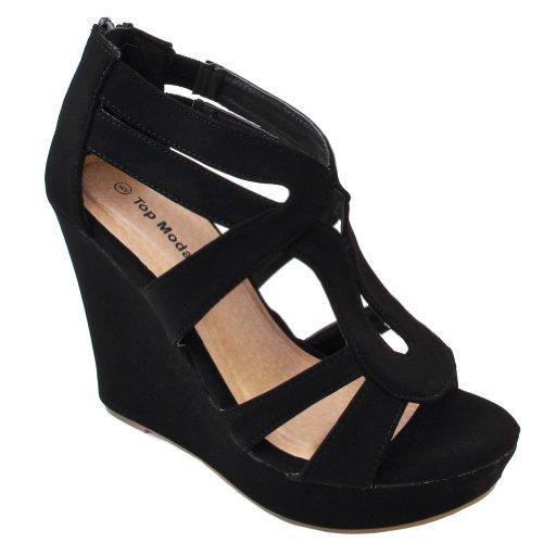 TOP Moda Ella Women's Strappy Open Toe Platform Wedge Black 5.5 ()