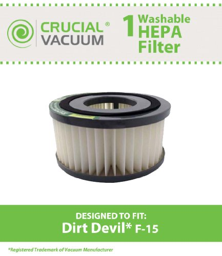 Dirt Devil F15 Washable HEPA Filter for ALL Dirt Devil Quick Vac Models; Compare to part #1-SS0150-000, 3-SS0150-001 (3SS0150001); Designed & Engineered By Crucial Vacuum - Quick Vac