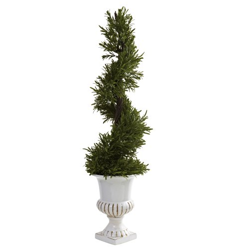 Nearly Natural 5426 3-Feet Indoor/Outdoor Rosemary Spiral with Urn, Green