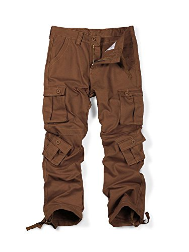 MUST WAY Men's Causal Slim Fit Cargo Pants With Multi-Purpose Pocket Military Style Work Pants Brown (Knee Pocket Canvas Pant)