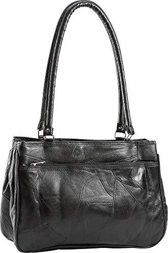 Stone Mountain Triple Zipper Patchwork Tote Handbag One Size Black