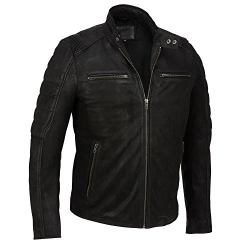 Black Rivet Mens Leather Mustang Moto Jacket L Black Black Rivet Leather Jacket