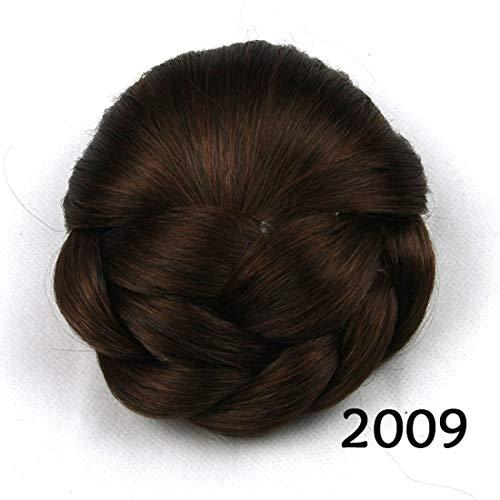 Kirabon Klnsuac Ladies Hair Bun Flower Headpiece Donut Ponytail Women (Color : Color 2009)