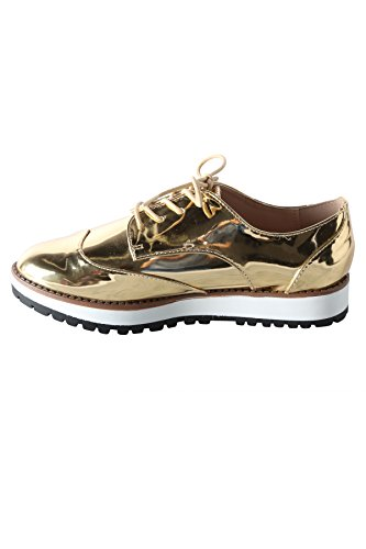 Hadari Womens OxfordMetallicSneaker 4Bhfxmtp