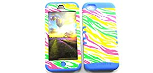 SHOCKPROOF HYBRID CELL PHONE COVER PROTECTOR FACEPLATE HARD CASE AND LIGHT BLUE SKIN WITH STYLUS PEN. KOOL KASE ROCKER FOR APPLE IPHONE 5C ZEBRA LB-TE194