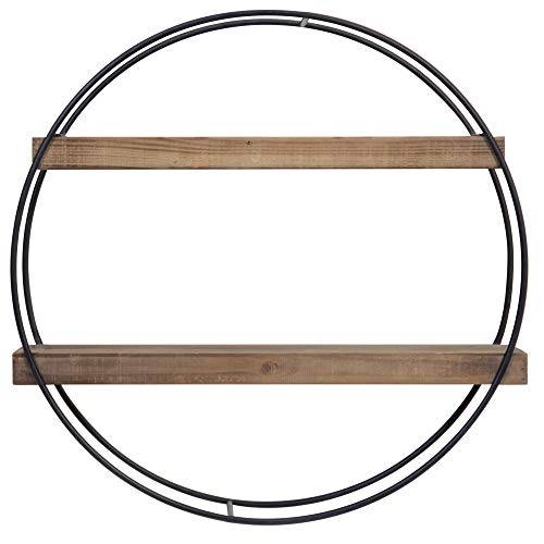 (Everly Hart Collection Industrial Round Metal and Wood Shelf Wall Shelves, Grey)