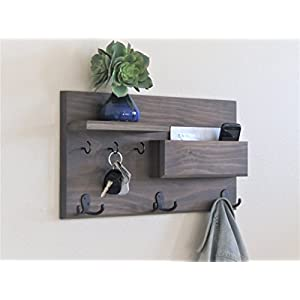 Coat Rack Entryway Organizer Driftwood Weathered Gray Key Hooks and Mail Storage