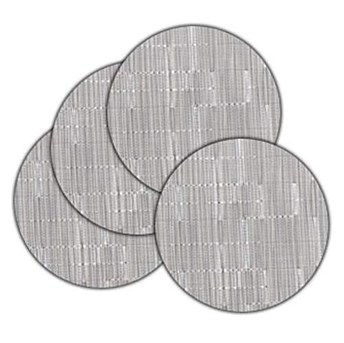 Round Vinyl Placemats (LivebyCare 4pcs Round Vinyl Dining Table Low Profile Placemats Non-Slip PVC Textilene Woven Place Mats Home Decoration Kitchen Dinner, Silver Gray)