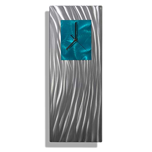 Statements2000 Unique Hand-Crafted Abstract Silver and Teal Metal Wall Clock - Modern Contemporary Functional Home Decor Art Sculpture - Ocean Energy by Jon Allen -24-inch ()