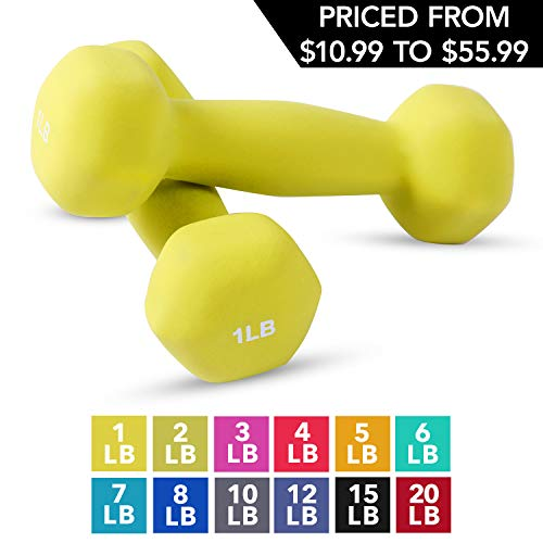 Neoprene Dumbbell Pairs by Day 1 Fitness - 1 Pound - Non-Slip, Hexagon Shape, Color Coded, Easy To Read Hand Weights for Muscle Toning, Strength Building, Weight Loss