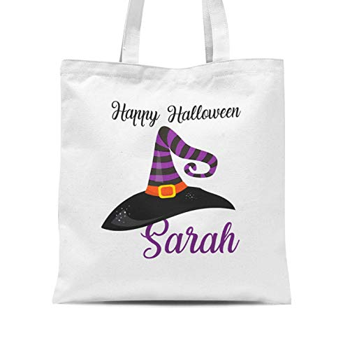 Halloween Tote Bag - Purple Witch Hat Personalized