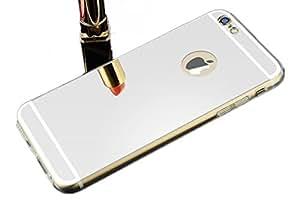 "iPhone 6 / iPhone 6S (4.7"") Funda Espejo [Color Plata] Silver, Delgado Thin Carcasa Lujo Hybrid Glitter Bling Belleza Mirror Caso Cubierta Soft TPU Case Cover para iPhone 6 / iPhone 6S 4,7 Pulgadas"