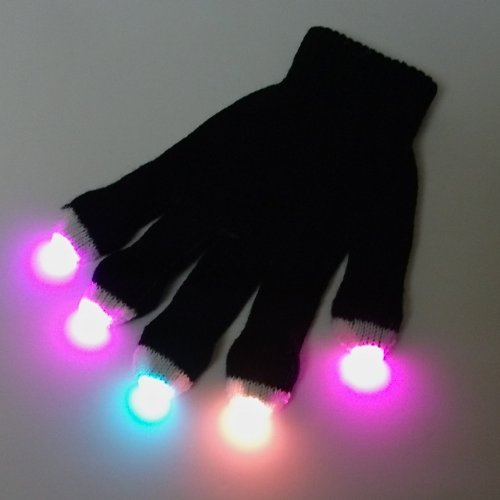 GloFX Premier Glove Set: Yellow,Blue,Pink 3-Color Strobe - For Light Shows Rave Party