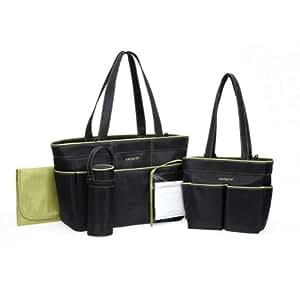 Carter's 5 Piece Diaper Bag Set - Black/Sage