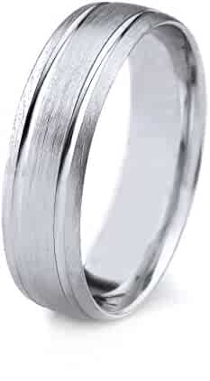 14k Gold Men's Wedding Band with Satin Finish and Parallel Grooves (8mm)