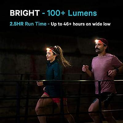 Silikon Stirnlampe mit roten LEDs f/ür seitliche Sichtbarkeit wasserdicht KNOG Quokka Run LED-Stirnlampe kein Sprung... verstellbarer Gurt 4 Modi USB wiederaufladbar perfekt f/ür Nachtl/äufe leicht