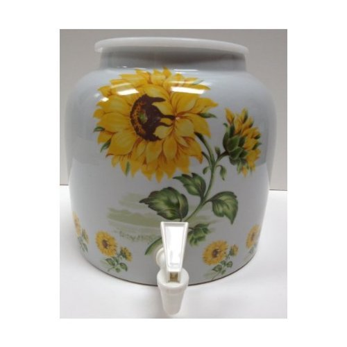 - Ceramic Water Crock Dispenser - Sunflower Design
