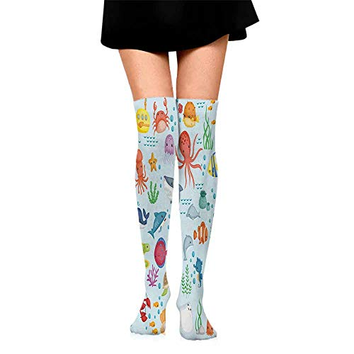 - Funny Socks For Female Sox Marine,Bunch of Sea Animals Submarine Crabs Squid Lobster Octobus Seaweed Starfish Stingray,Multicolor,socks women cotton