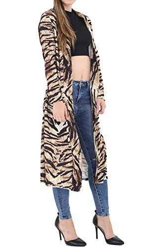 Crpe Maxi Grand Manteau Devant En Sur Plumeau xxx Islander Longues Pour Femmes Le Tiger Print Fashions Imprim Manches De Petit Ouvert Cardigan Hqfq87wE