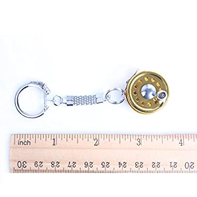 Cool Fly Fishing Reel Miniature Novelty Gift Charm Diameter 25 Mm Key Chain New