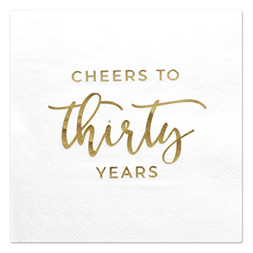 30th Birthday Beverage Napkins - Andaz Press Cheers to Thirty Years, Funny Quotes 30th Birthday Anniversary Cocktail Napkins, Gold Foil, Bulk 50-Pack Count 3-Ply Disposable Fun Beverage Napkins for Champagne Alcohol Party Bar