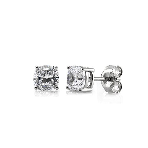 (BERRICLE Rhodium Plated Sterling Silver Cushion Cut Cubic Zirconia CZ Solitaire Stud Earrings 6mm)
