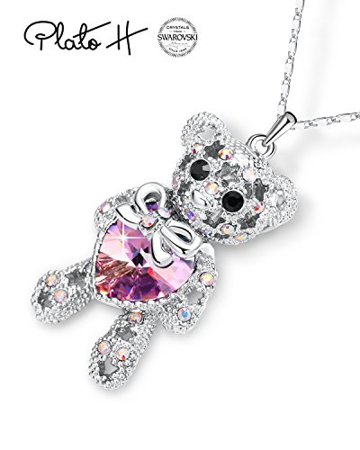 PLATO H Purple Pink Teddy Bear Pendant Neckalce Cute Animal Bear Pendant Necklace with Swarovski Heart Crystal, Bear Crystal Heart Birthstone Necklace, Bear Necklace for Women