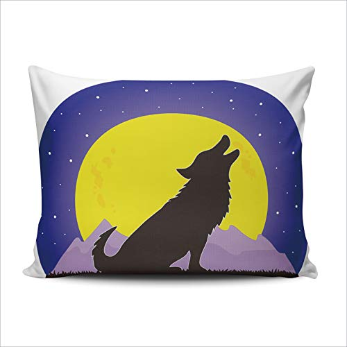 Hoooottle Custom A Wolf Howling at a Large Yellow Moon Decorative Pillowcase Throw Pillow Case Cover Zippered Standard One Side Printed 20x26 Inches (One Little Coyote Howling At The Moon)