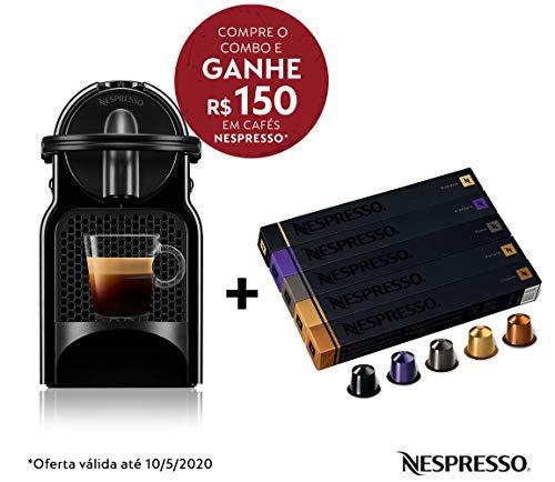 Cafeteira Nespresso Inissia Preta 110V e Seleção Variados 50 cápsulas de café