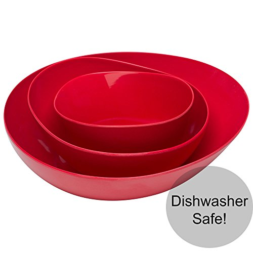 Green Oval Serving Bowl - Zak Designs 0078-2473-B Moso Dishwasher-Safe Bamboo 3-piece Eco Friendly Serving Bowls, Red, 3-piece set