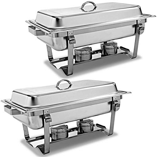 2 Packs Chafing Dish 9 Quart Stainless Steel Rectangular Chafer Full Size Buffet ()